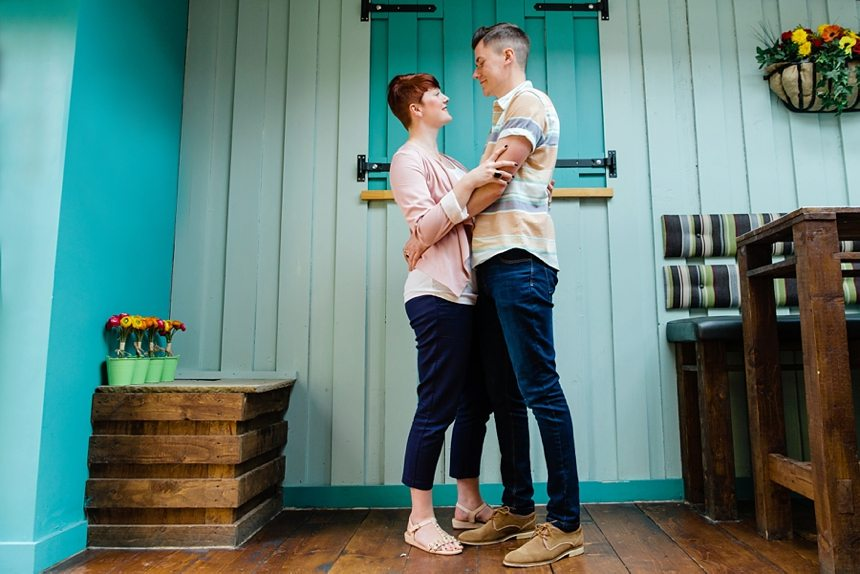 Engagement Photography in Ilkley at The Yard Pub Turquoise Wall