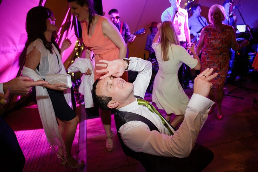 Top UK Wedding Photographer Tux & Tales Photography Dancing Groom