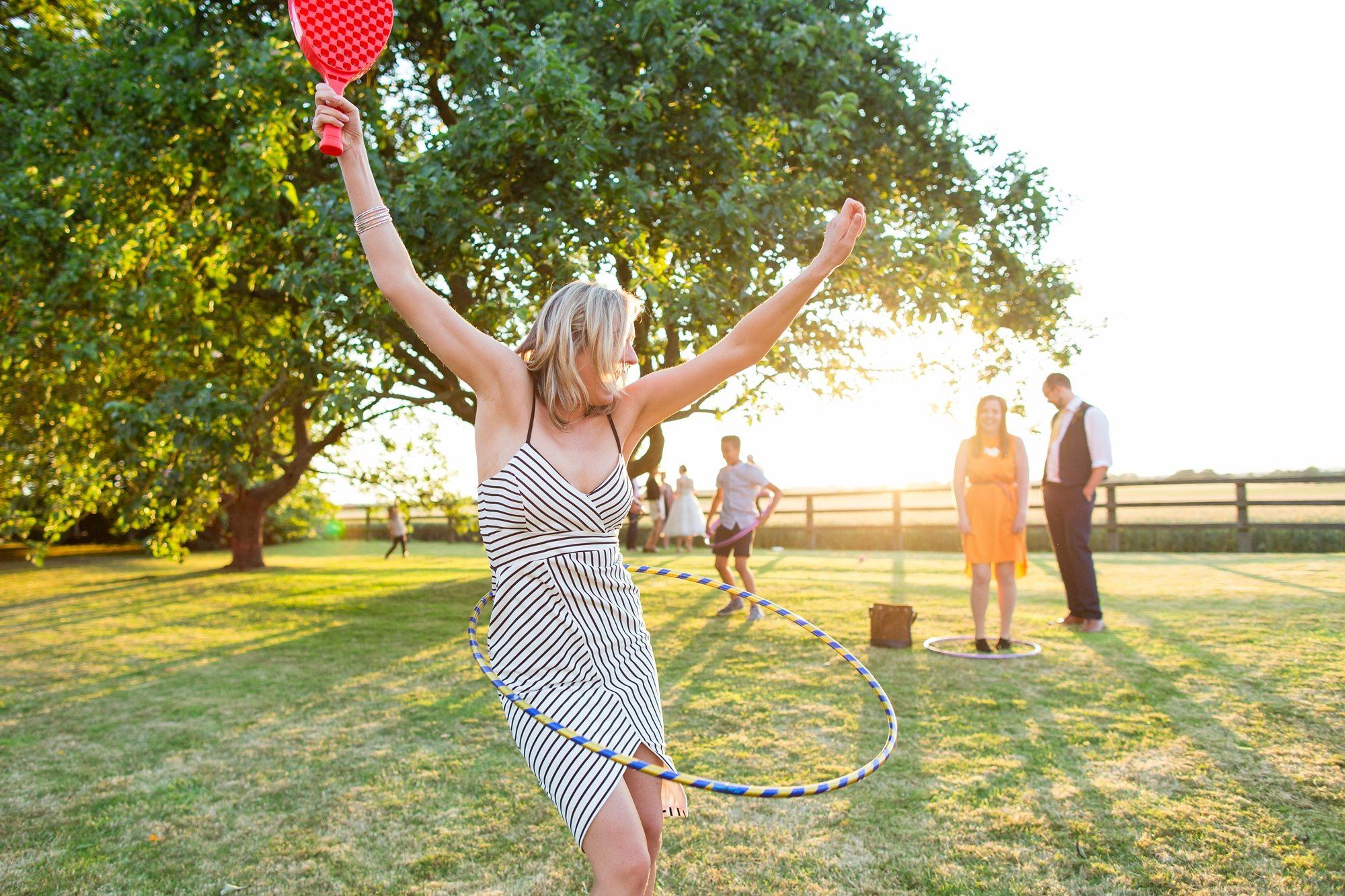 Barn Wedding tips wedding guest using Hula Hoop in York wedding