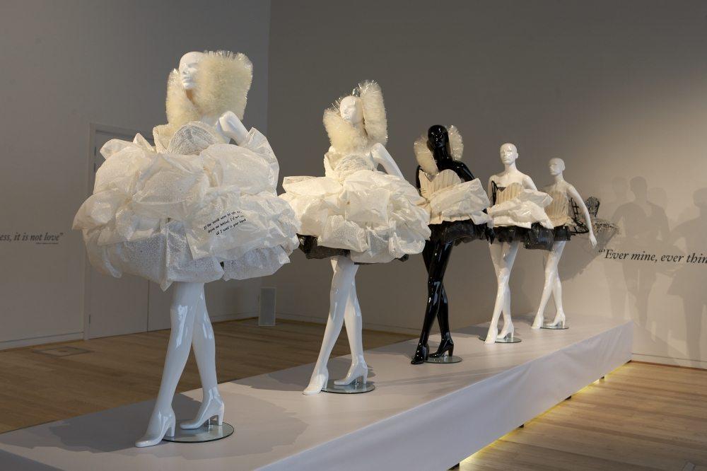 Mannequins displaying dis-solvable wedding Dresses