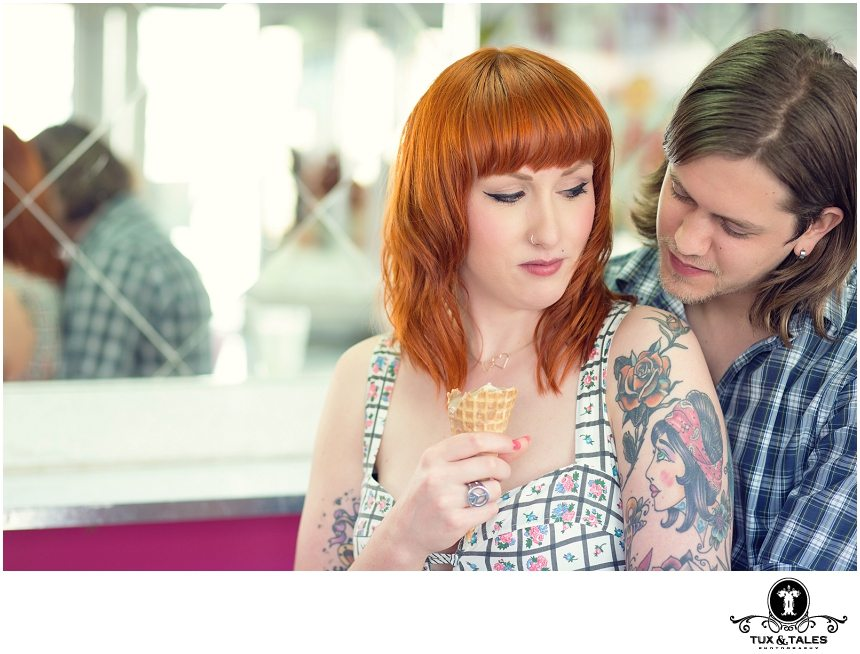 Ice Cream Parlour engagement photos