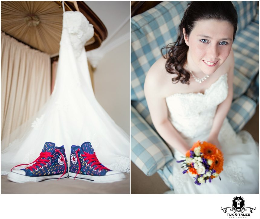 A wedding Bride with blue rainbow converse boots in York