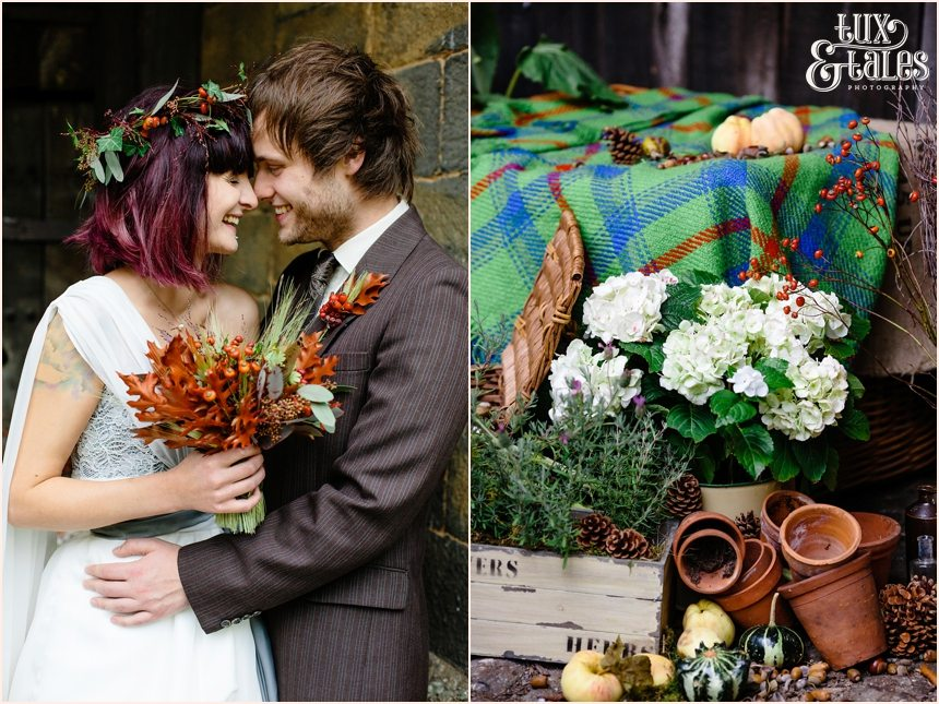 Autumn themed wedding with pumpkins and leaves