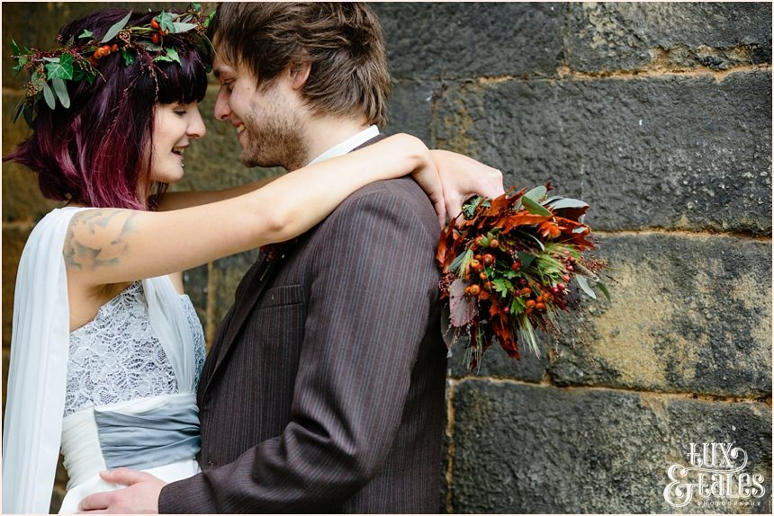 Fable and promise wedding dress on alternative wedding couple autumn theme