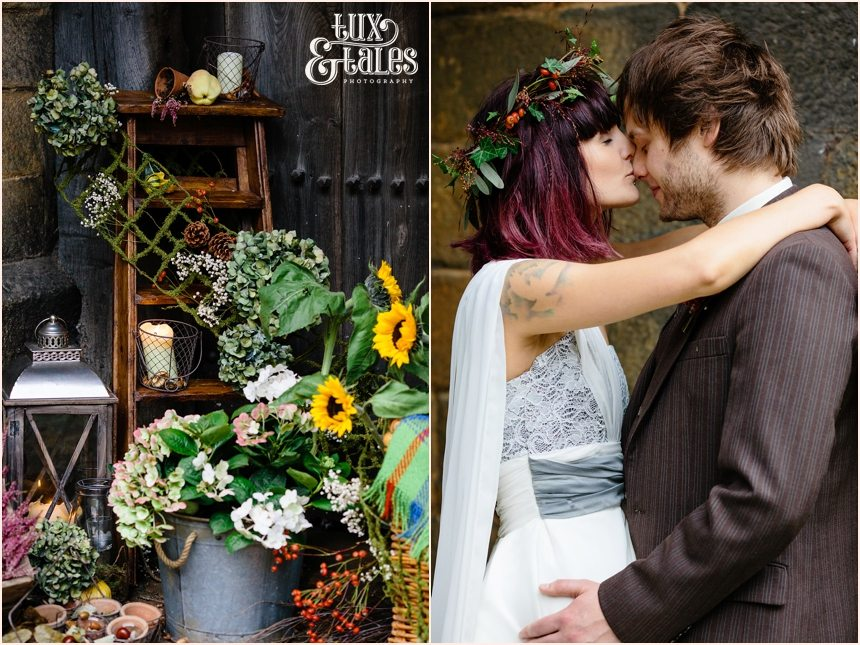 Autumn themed alternative wedding couple fable and promise dress at East Riddlesden Hall