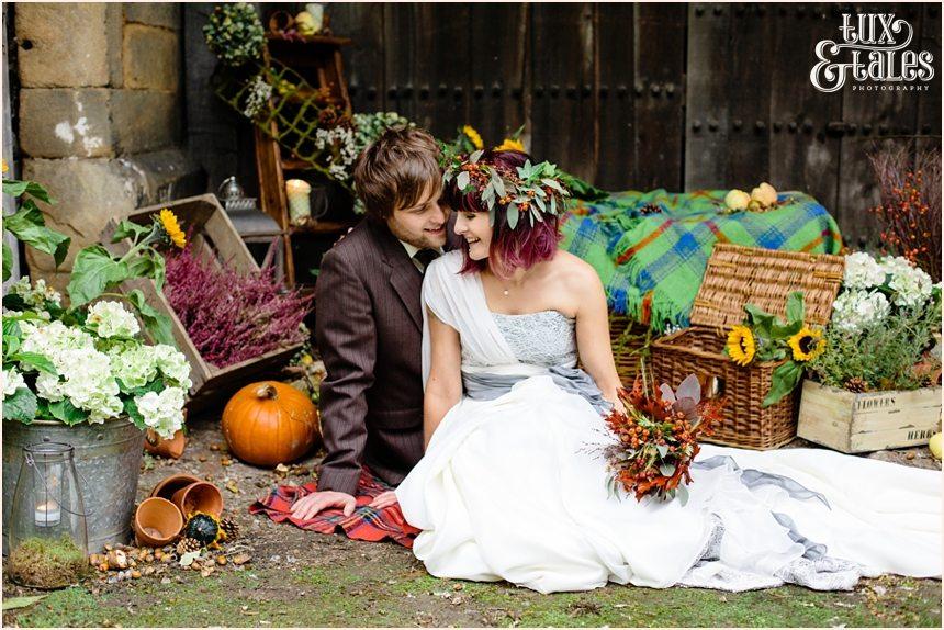 pumpkins and sunflowers wedding photography