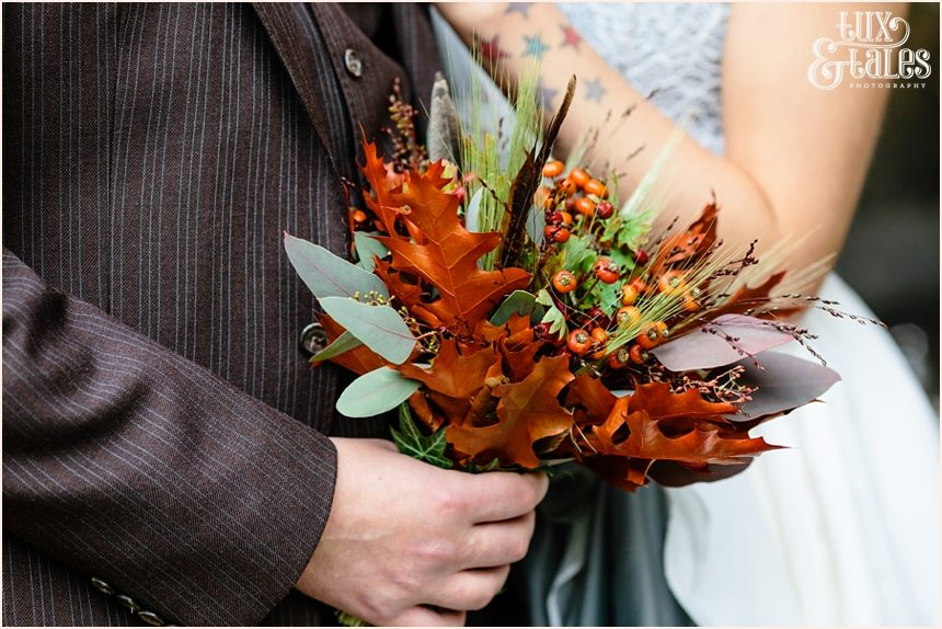 Bouquet made from autumn leaves for alternative autumn wedding