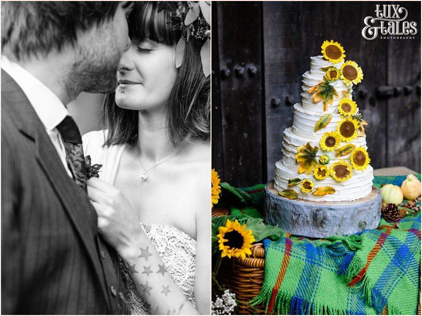 Sunflower wedding cake at East Riddlesden Hall Alternative autumn theme