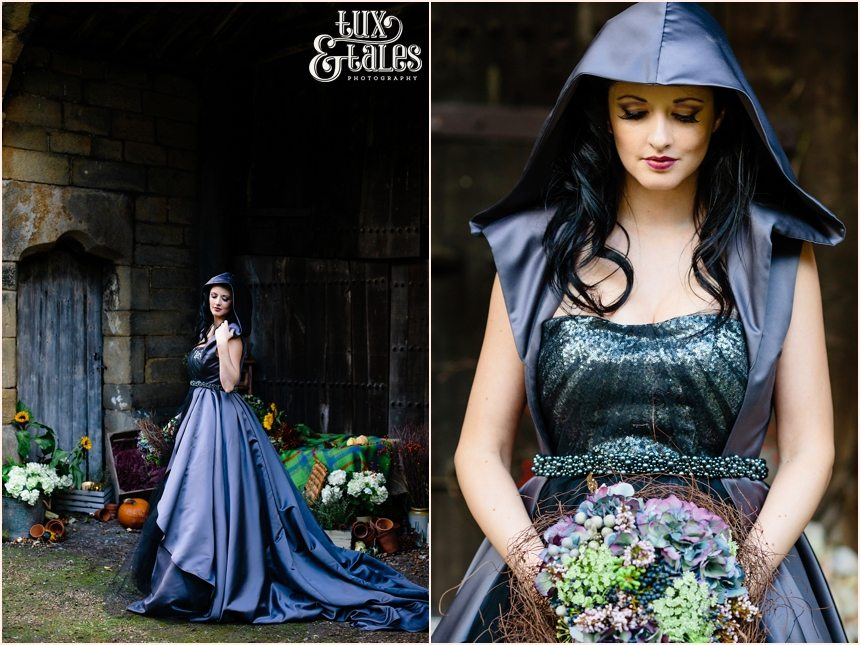 Bride in black dress with hood and hydrangea bouquet fable and promise wedding dress