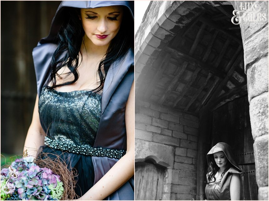 Black wedding dress by Fable and Promise with hood