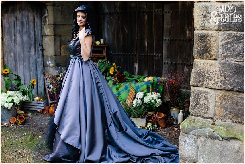 Black wedding dress autumn theme bride