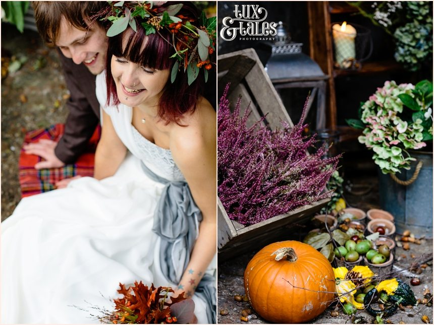 Autumn themed wedding with pumpkins and flower crown