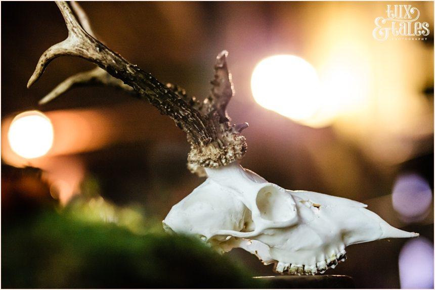 skull with antlers alternative wedding theme