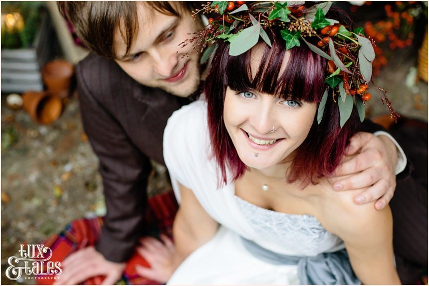 Autumn themed wedding with berry crown alternative couple