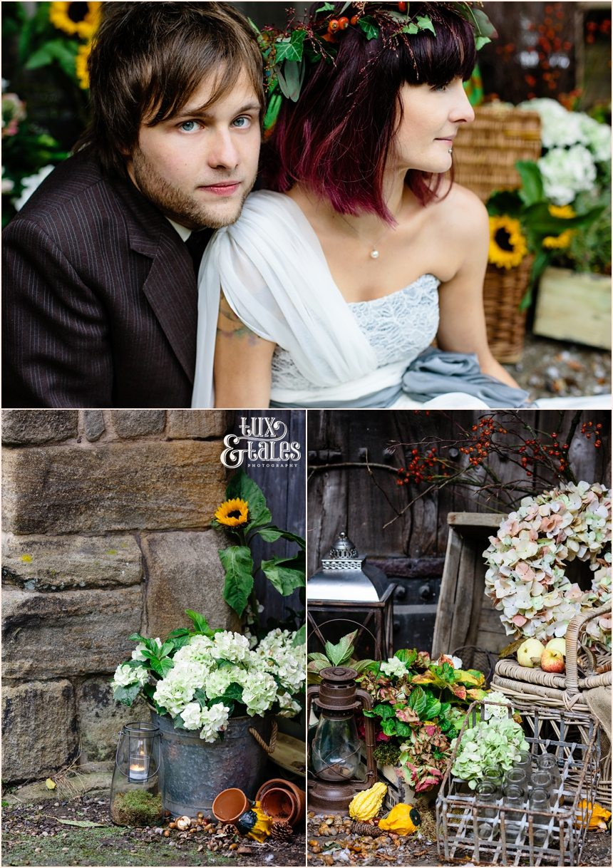 Alternative boho autumn themed wedding with pumpkins and flower crown
