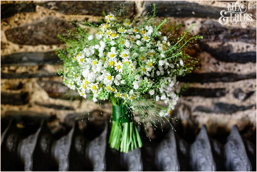 Wedding bouquet photograph on vintage radiator newhouse farm lake district