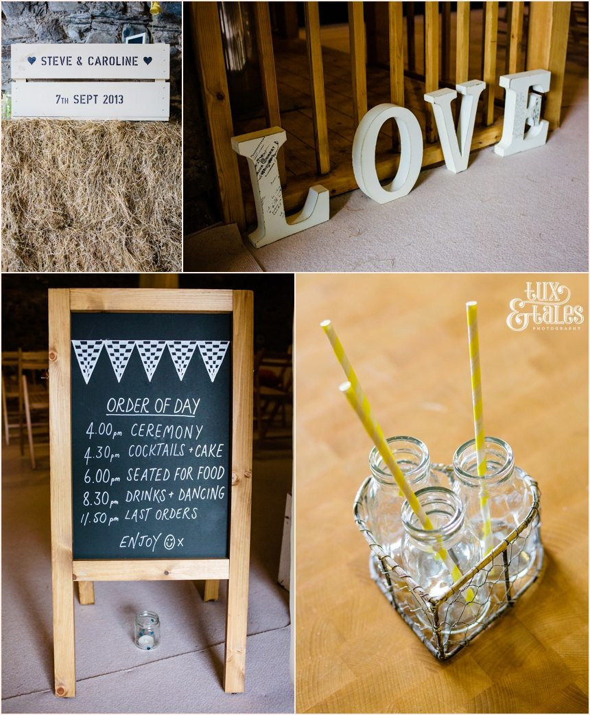 Farm house wedding details with yellow paper straws and hay bales