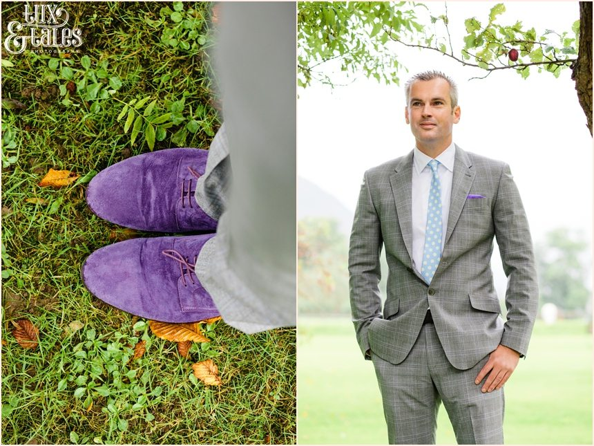 Purple suede groom shoes