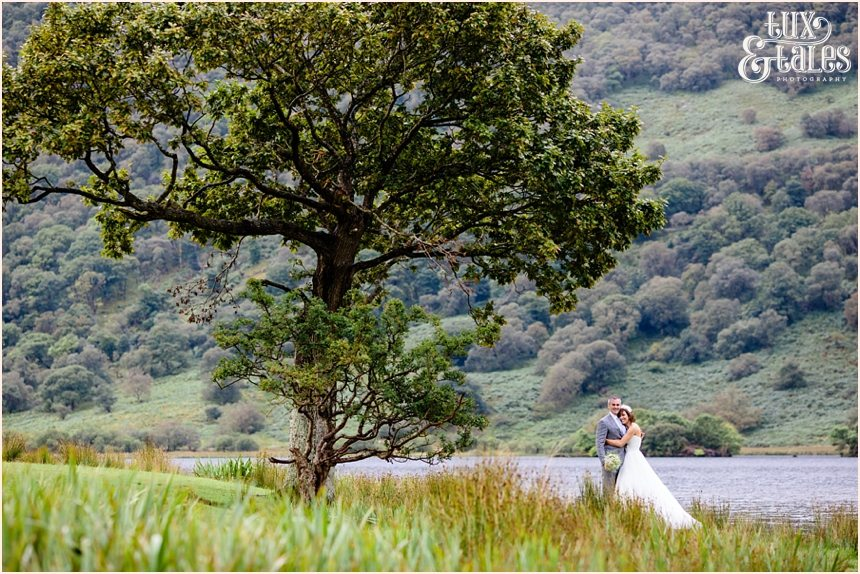 Bride & groom in front of lake buttermere