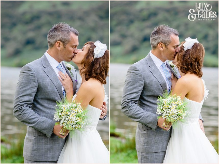 Bride and groom kiss at Lake Buttermere wedding
