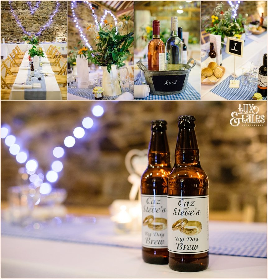 New House Farm wedding details with home made beer lables