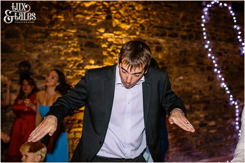 funyn dancing at barn wedding in the Lake District