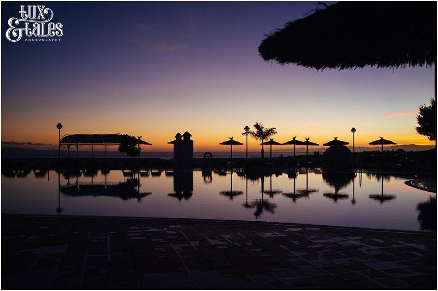 Poolside at sunset at Sandos Papagayo Hotel in Lanzarote
