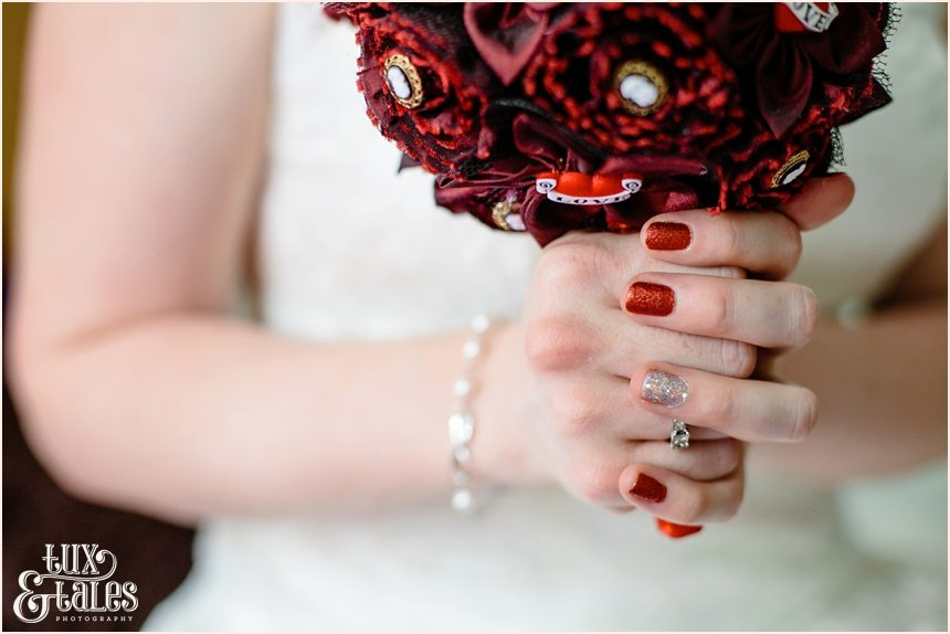 Funky red and silver wedding nail varnish polish