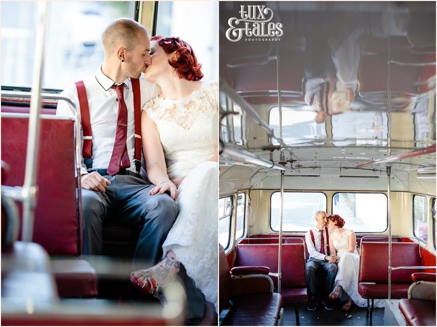Bride and groom kiss on London bus
