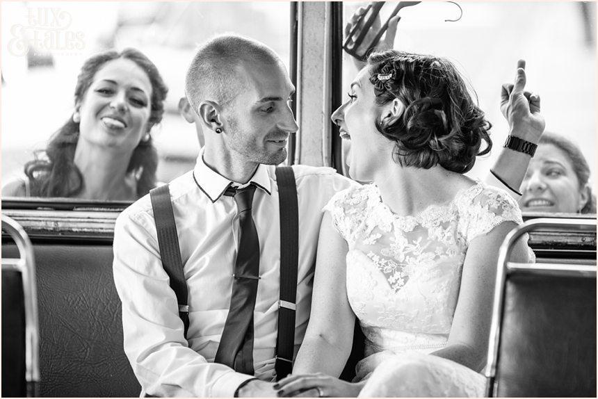 Friends photobomb london bus wedding photos