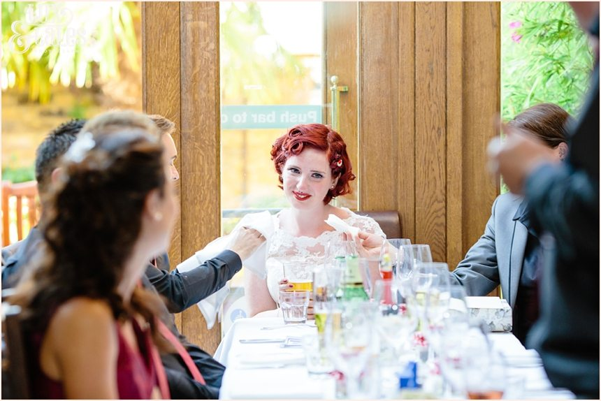 Bride is offered a tissue at a DIY London Tattoo wedding