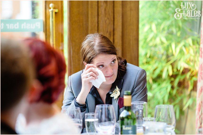 Female best man cries during speeches