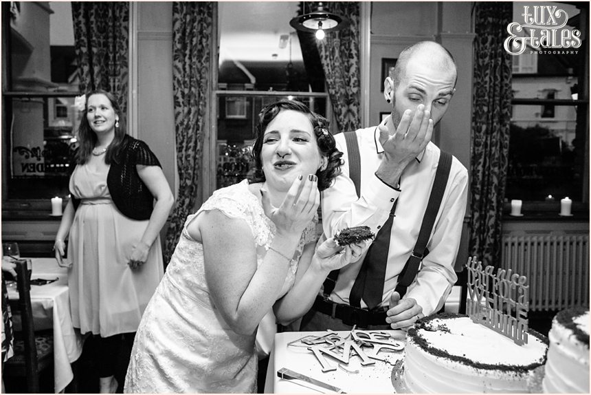 Funny cake cutting at wedding in London