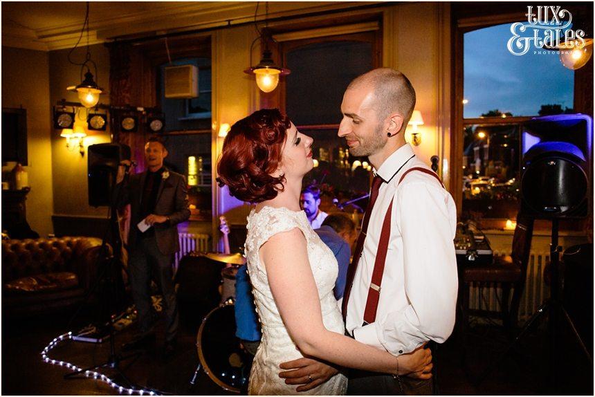 Tattooed bride dances with pierced groom