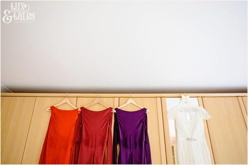 Barmbyfield Barn autumn colour wedding dresses
