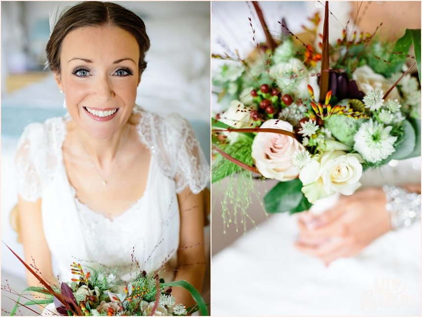 Barmbyfield Barn Wedding bouquet with autumn colours and feathers