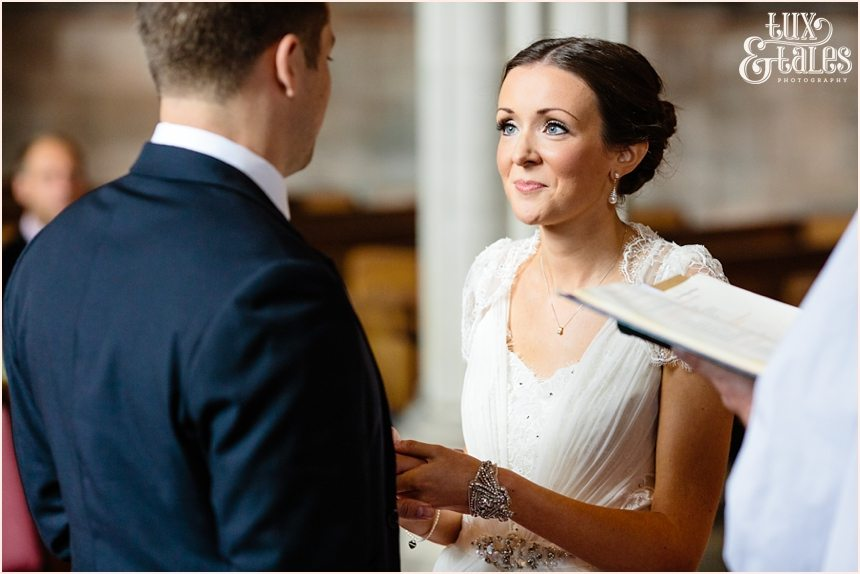 Exchange of rings at escrick church wedding York in Yorkshire