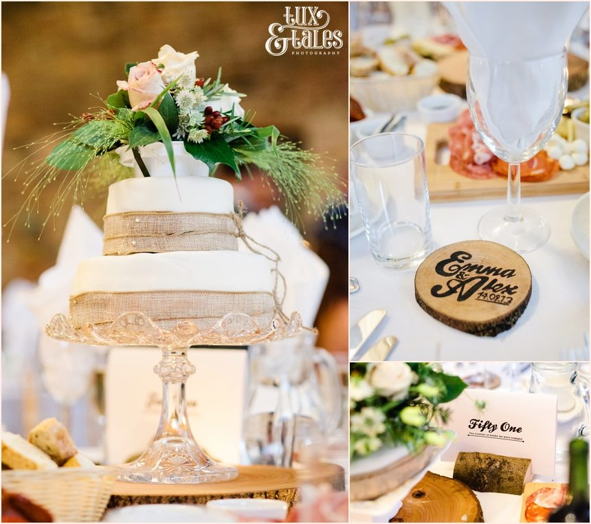 Wedding with wood accents at brmbufield barn