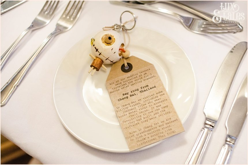 Tahi wedding favours from couples personal travels DIY Barmbyfield Barn Wedding