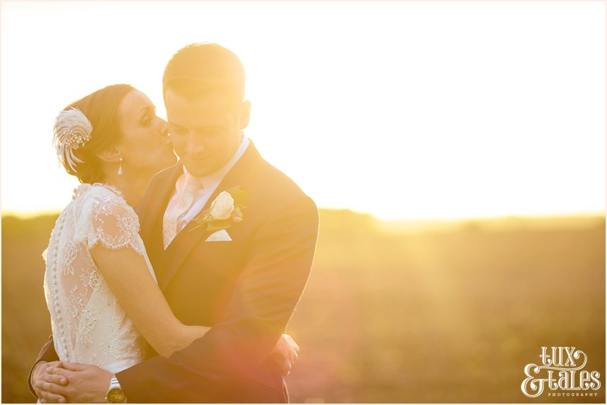Barmbufield Barn wedding photography bride and groom sunset in field