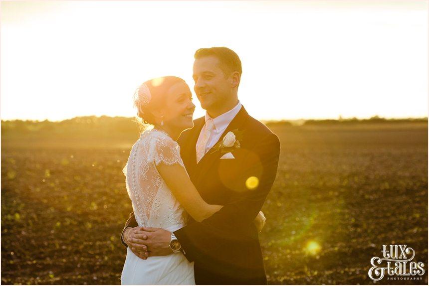 Sunset in field Barmbyfield Barn Wedding Photography