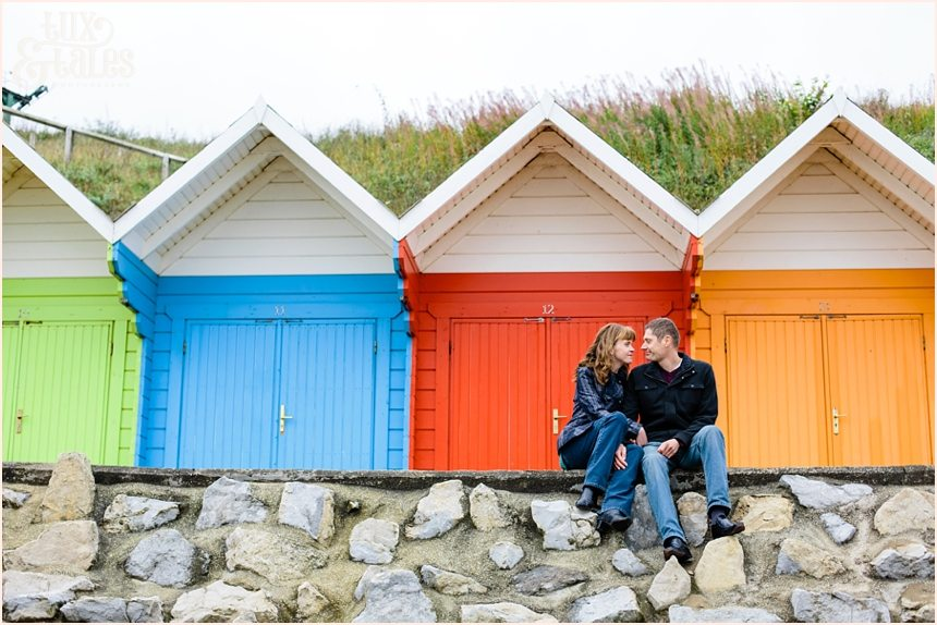 Rainbow coloured beach huts north bay scarbourgh engagement photography