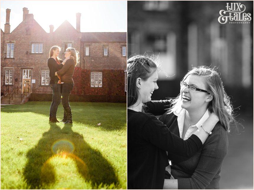 Two girls engagement shoot at York St John University