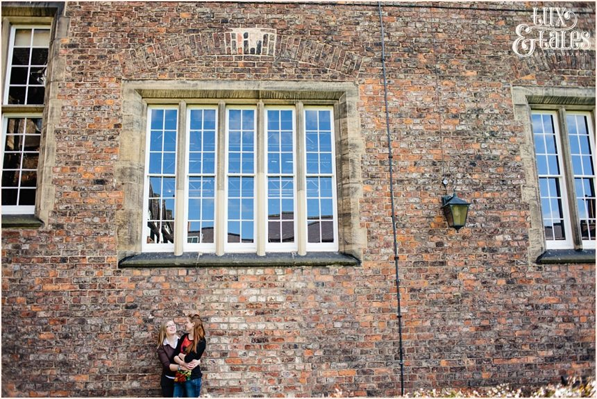 York St John Engagement shoot brick wall civil partnership