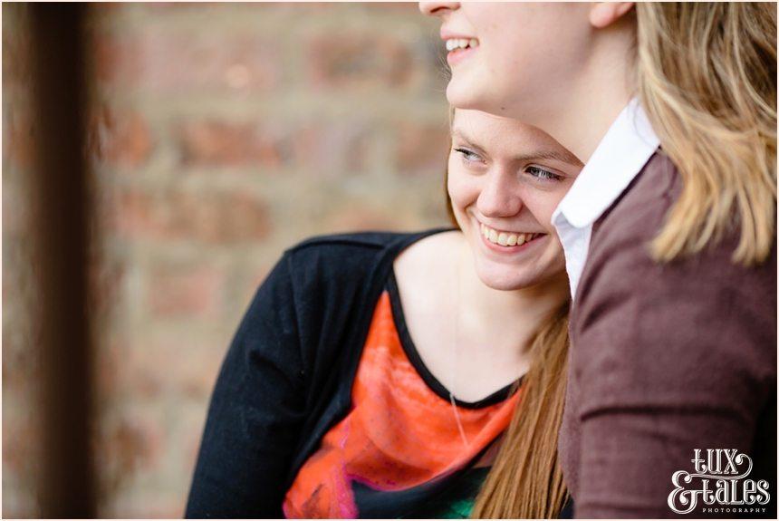 Girls snuggling at engagement shoot in York