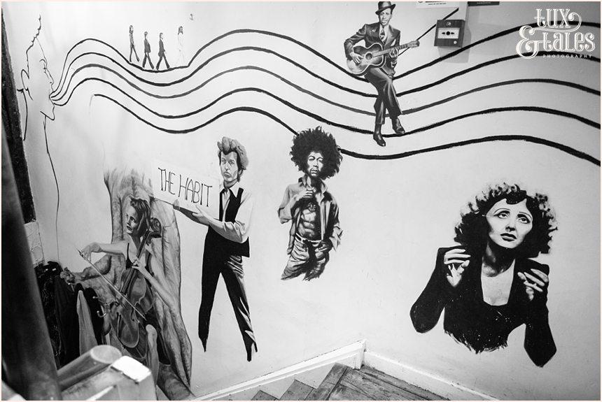 The Habit Coffee Shop in York Murals of singers