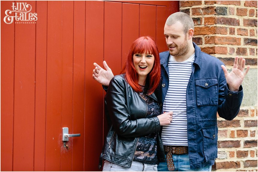 York engagement shoot with redhead inLeather jacket