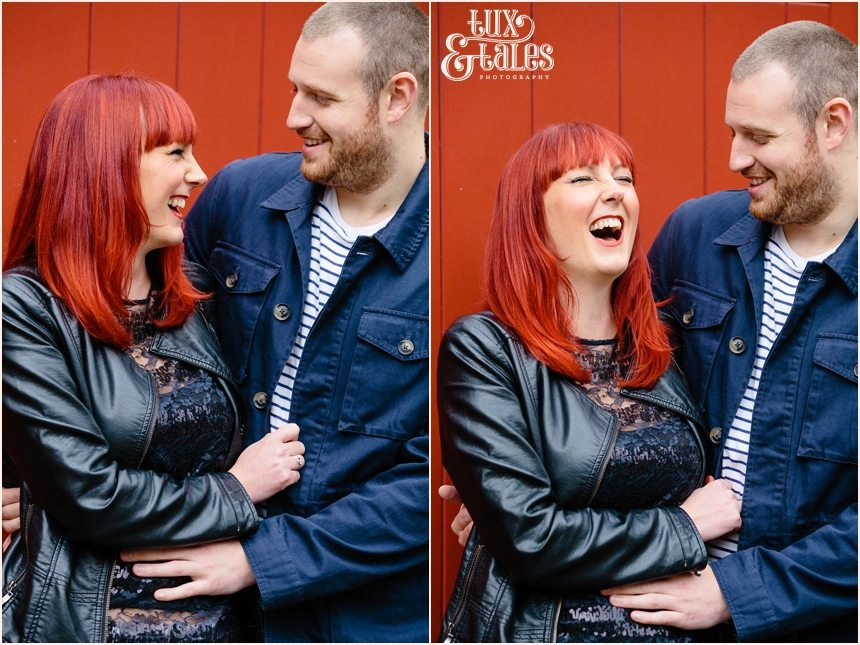 Engagement photography in York in front of red door with redhead