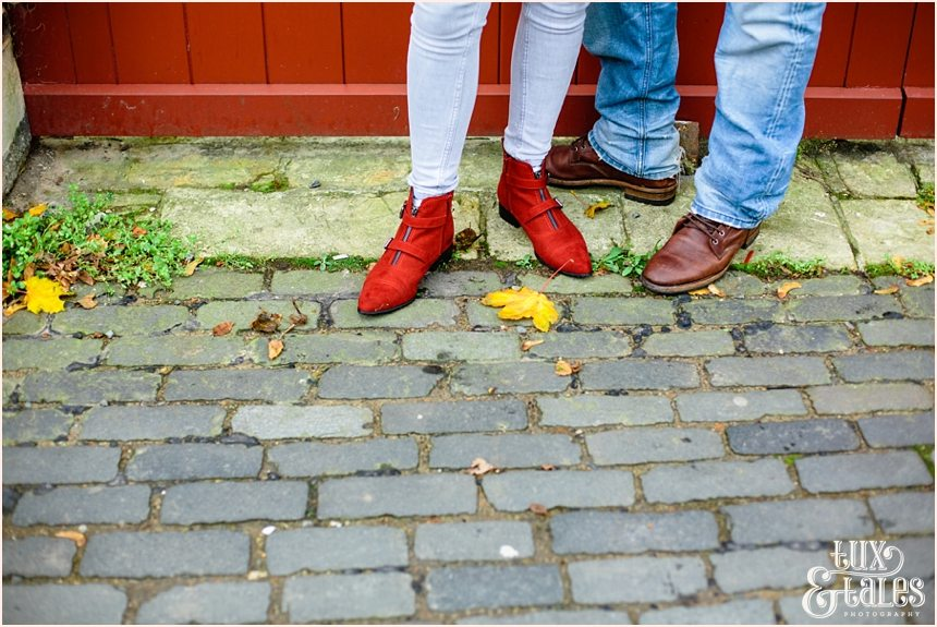 Red elather boots engagement shoot in York