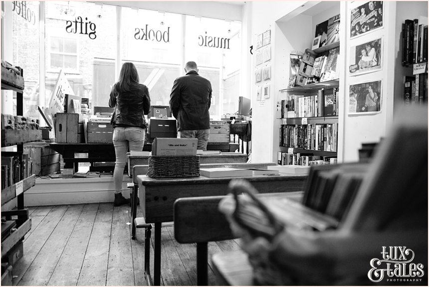 The Inkwell in York engagement shoot record store